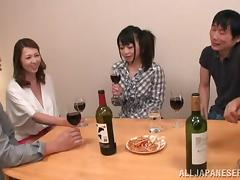 Drunk Japanese pornstars enjoying a scintillating orgy