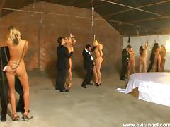Anal sluts in BDSM foursome getting DP fucked after humiliation