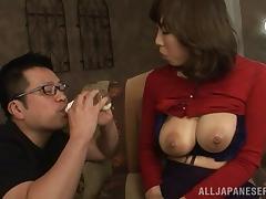 Milk fetish gentleman sucking his babe big natural tits in reality shoot