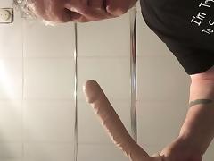 Grandpa deepthroats 10 inch dildo