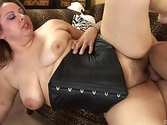 Chubby Reyna Slade in a black corset fucked in her hairy fat pussy