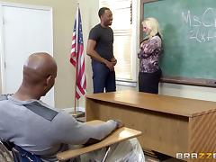 Cute blonde chic engaged in a steamy interracial gangbang of all times