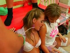 Kinky, bad girls get bent over and fucked then piss themselves
