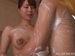 Massage, Asian, Bath, Big Tits, Couple, Handjob