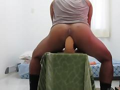 stretching ass with  a big toy