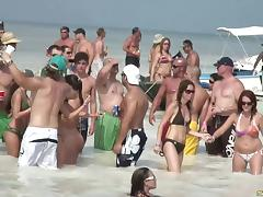 Naughty amateur cowgirls go topless on the beach hardcore