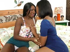 Titty licking black lesbians like the girl on girl toy sex