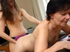 old nanny takes a strap on from her young lover