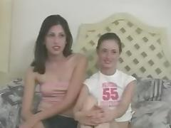 Two lesbian immatures suck my fat prick