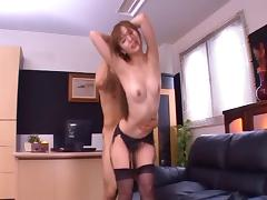 Asian office girl in stockings gags on a stiff cock then drives it up her cunt