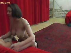 Busty MILF agent whore seduces a shy beginner guy