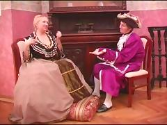 Big tits milf in a fancy costume has her coochie nailed till orgasm