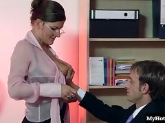 Office, Babe, Big Tits, Glasses, Lingerie, Office