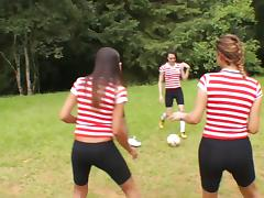 Soccer team of sexy trannies gangbang one lucky guy outdoors