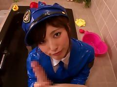 Tokyo, Asian, Babe, Brunette, Cop, Handjob