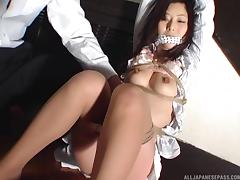 Rope bound and gagged Asian fingere by her man