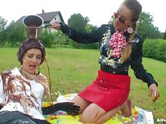 Picnic turns into a dirty food fight with two sexy European sluts