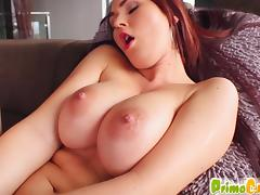 Primecups redhead  masturbates in the lounge