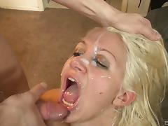 Lush blonde allows the tattooed guy to put his dick into her mouth