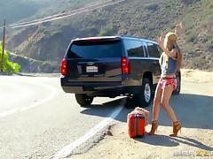 Hitchhiking hippie girl picked up and fucked in the car