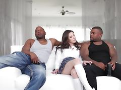 hard interracial threesome with white babe and black cocks