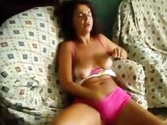 Portugal Wife rubbing her pussy on loveseat