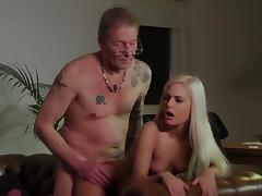 Luscious blonde fucked hard by senior step dad