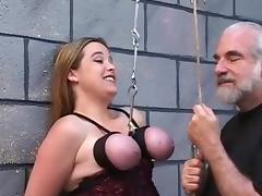 Tied Tits Suspended Rope