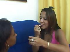 Lipstick, Kissing, Latina, Lesbian, Lipstick, Softcore