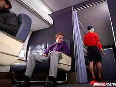 Slutty tattooed blonde stewardess fucking in first class