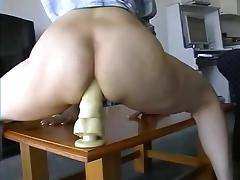 Amateur anal fuck with a huge dildo