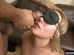 Blindfolded, Blindfolded, Blonde, Couple, Cumshot, Facial
