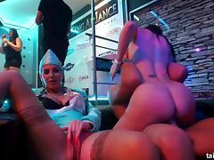 Horny stewardesses getting banged in the underground nightclub