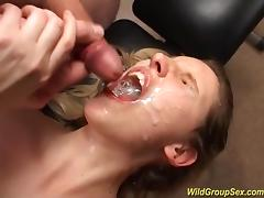 Two sexy german chicks in a wild bukkake gangbang fuck orgy