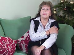 Classy mature granny stripteasing lovely in the living room