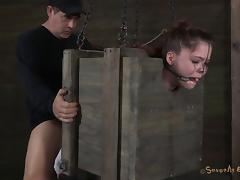 Caged dame refined with face fucking in BDSM torture