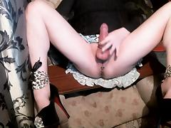 Stroking clit bare legs spread 3 high heels