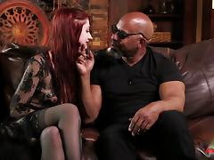 Hot ass dame enjoying big python missionary in interracial porn