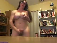 Mature tranny cum on desk