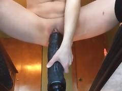 Riding my giant 12 inch dildo