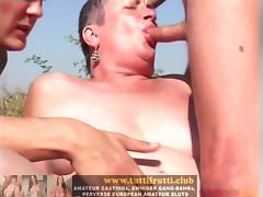 Outdoor perverse Euro mature porn party