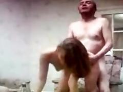 Grandfather and grandson enjoy a whore