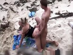 Beach, Beach, Big Cock, Condom, Couple, Doggystyle