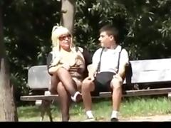 Blonde mature mom and junior boy