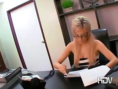 Sexy blonde secretary Victoria White playing with her pussy and giving a blow job in office