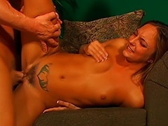 Tattooed Girl's Cunt is Being Licked by a Man Admirer of Hairy Pussies who Later Fucks Her and Cums on Her Face