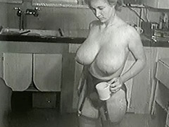 Cleaning House in Sexy Big Tits Stockings 1950
