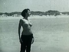 Nudist Girl's Day on a Beach 1960