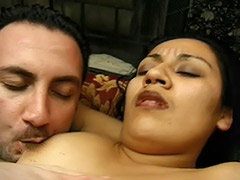 Latin Sperm Thirsty Girl Enjoys Her Hairy Pussy Fucked by a Stranger