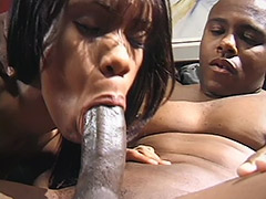 Black Amateur Couple Performs a Hairy Fucking Action on a Black Leather Sofa